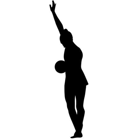 beauty contest: Silhouette girl gymnast with the ball Illustration