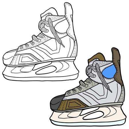 Sketch of hockey skates. Skates to play hockey on ice illustration.