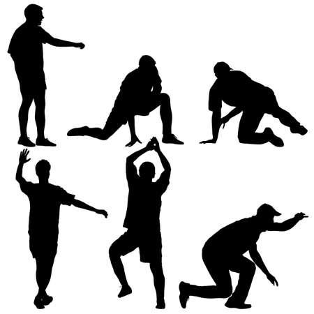 Set black silhouettes man on white background illustration. Ilustração