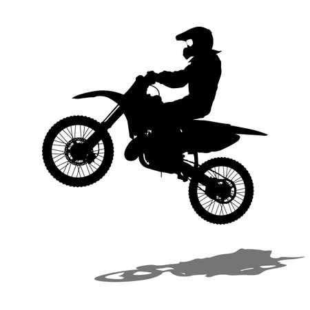 Silhouettes Rider participates motocross championship illustration. 向量圖像