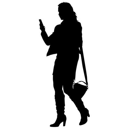 young girl: Silhouette young girl with handbag standing