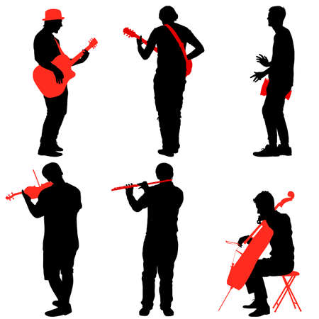 Silhouettes street musicians playing instruments illustration.