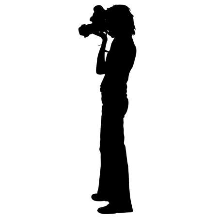 videographer: Cameraman with video camera. Silhouettes on white background.