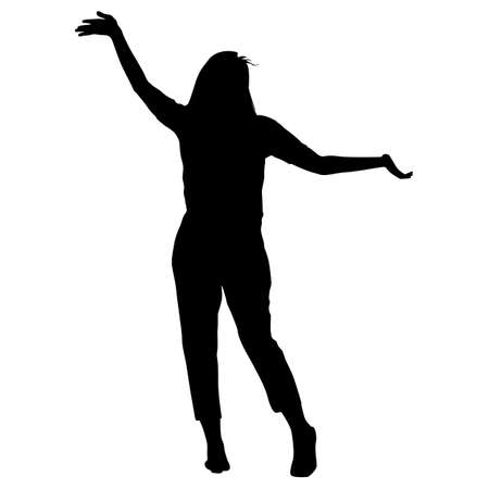 Silhouette young girl jumping with hands up, motion. Illustration