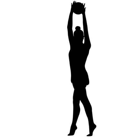 calisthenics: Silhouette girl gymnast with the ball Illustration