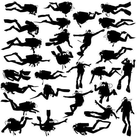 Set black silhouette scuba divers Illustration