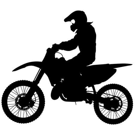 Silhouetten Rider participeert motocross kampioenschap illustratie. Stock Illustratie