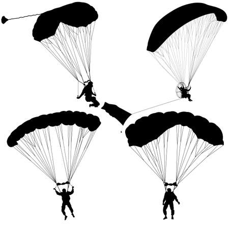 Set skydiver, silhouettes parachuting illustration. Illustration