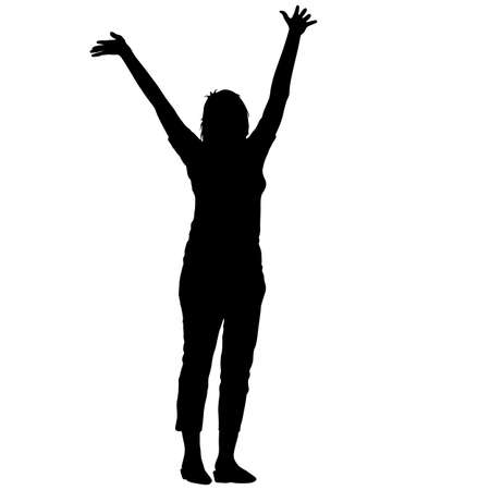 hand silhouette: Black silhouettes woman lifted his hands on white background. Vector illustration.
