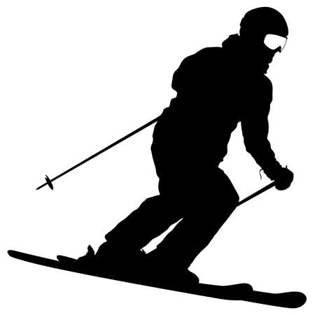 Mountain skier speeding down slope. Vector sport silhouette. Stock Illustratie