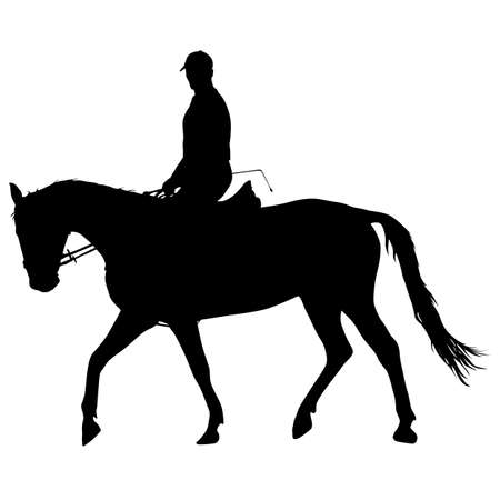The vector silhouette of horse and jockey. Illustration