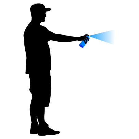 Silhouette man holding a spray on a white background. Vector illustration.