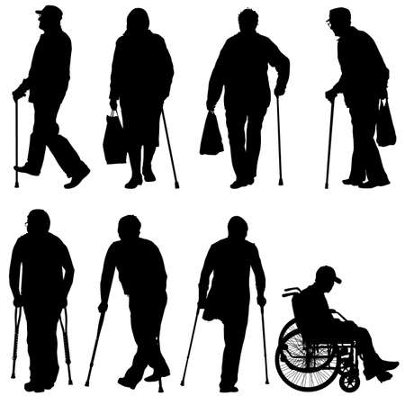 Set ilhouette of disabled people on a white background. Vector illustration. Illustration