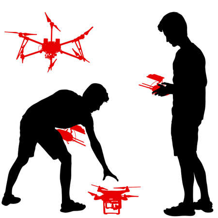 Black silhouette of a man operates unmanned quadcopter vector illustration. Illustration