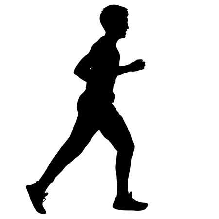 Silhouettes. Runners on sprint men vector illustration.