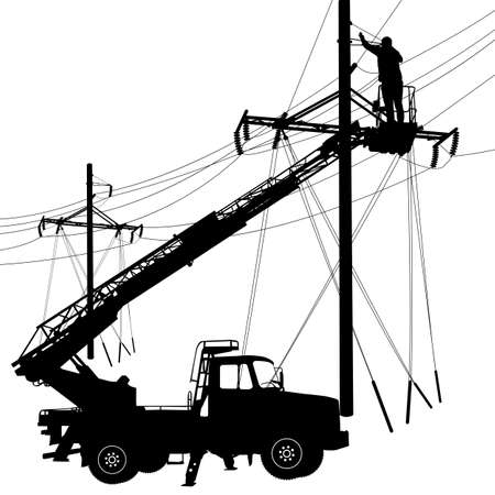 dangerous work: Electrician, making repairs at a power pole. Vector illustration.