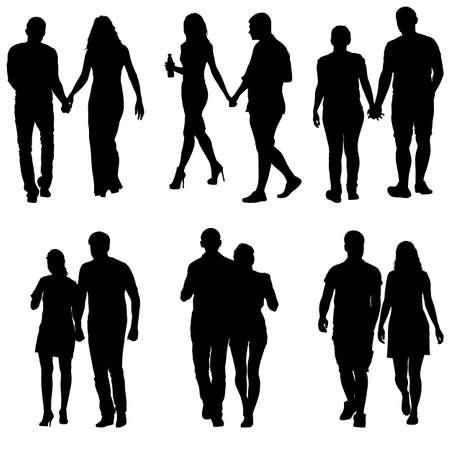 De man en de vrouw van paren silhouetten op een witte achtergrond. Vector illustratie. Vector Illustratie