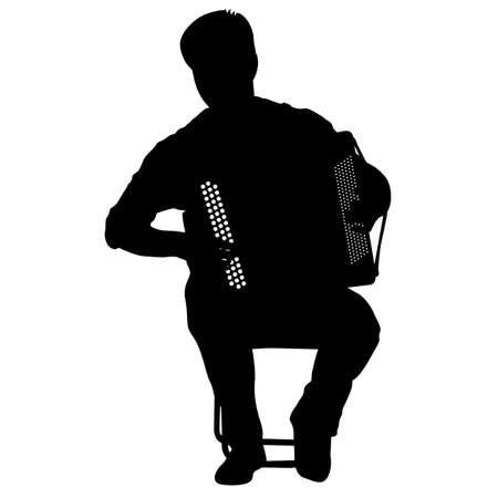 Silhouette musician, accordion player on white background, vector illustration. Illustration