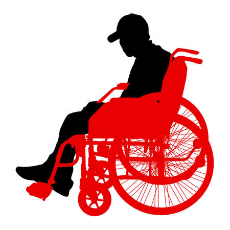 Silhouette of disabled people on a white background. Vector illustration. Illustration