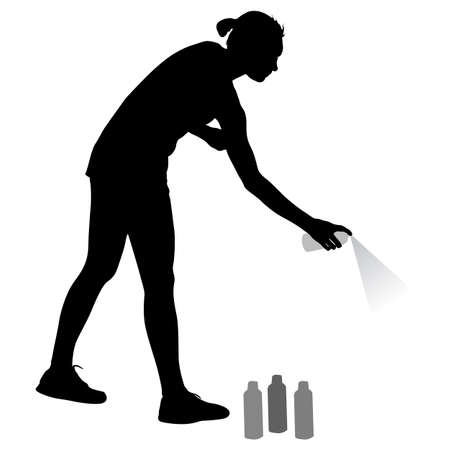 paint can: Silhouette woman holding a spray on a white background. Vector illustration.