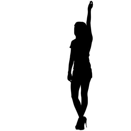 Black silhouette woman standing with arm raised, people on white background.