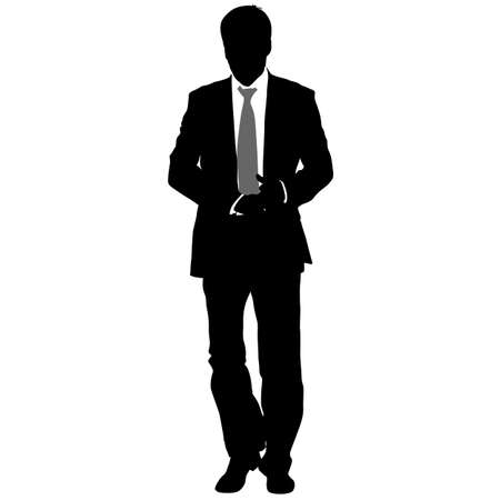 Silhouette businessman man in suit with tie on a white background. Vector illustration. 免版税图像 - 74425059