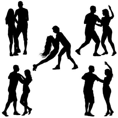 Black set silhouettes Dancing on white background. Vector illustration. Illustration