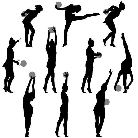 calisthenics: Silhouette girl gymnast with the ball. Vector illustration. Illustration