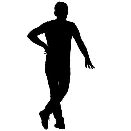 black people: Black silhouette man standing, people on white background. Illustration