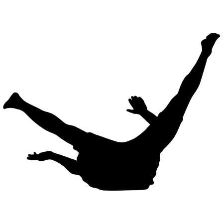 Black Silhouettes breakdancer on a white background. Vetores