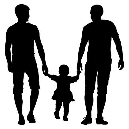 Black silhouettes Gay couples and family with children on white background. Vector illustration. Stock Vector - 74366373