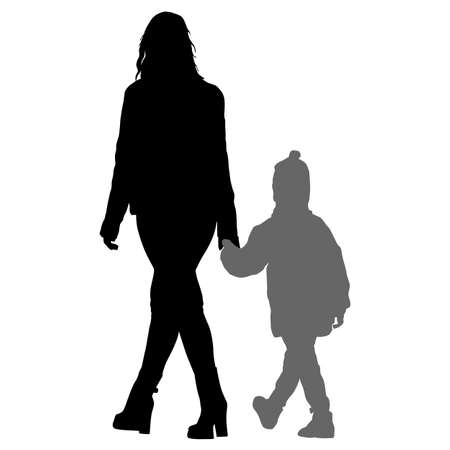 Silhouette of happy family on a white background. Vector illustration