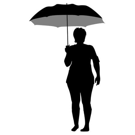 bad weather: Black silhouettes of women under the umbrella. Illustration