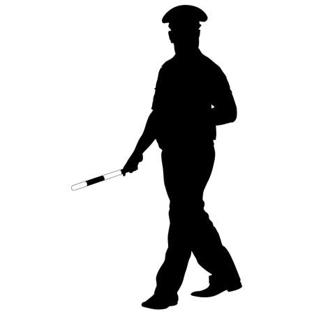 inspector: Black silhouettes of Police officer with a rod on white background.