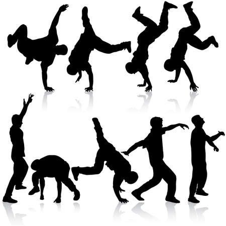Silhouettes breakdancer on a white background. Vector illustration. Vetores