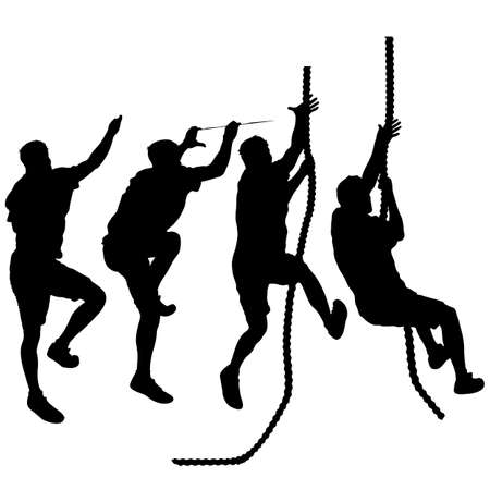 Set Black silhouette rock climber on white background. Illustration