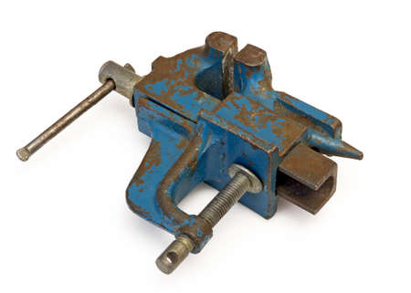 Blue steel vise on white background Stock Photo