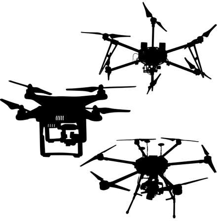Black set silhouette drone quadrocopter on white background.