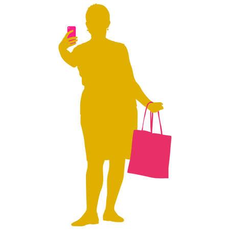 Silhouettes nő vesz selfie okostelefon fehér alapon. Vektoros illusztráció.
