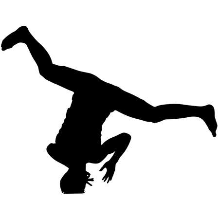 subculture: Black Silhouettes breakdancer on a white background.