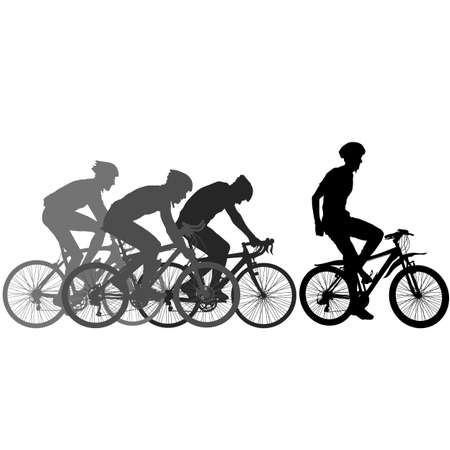 Silhouettes of racers on a bicycle, fight at the finish line. Illustration