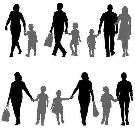 mom and son: Set silhouette of happy family on a white background. Vector illustration Illustration