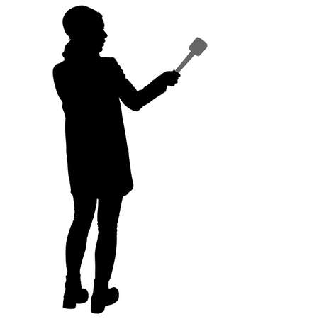 videographer: Sound technician with microphone in hand. Silhouettes on white background.