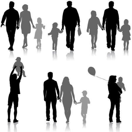 Stel silhouet van gelukkige familie op een witte achtergrond. Vector illustratie