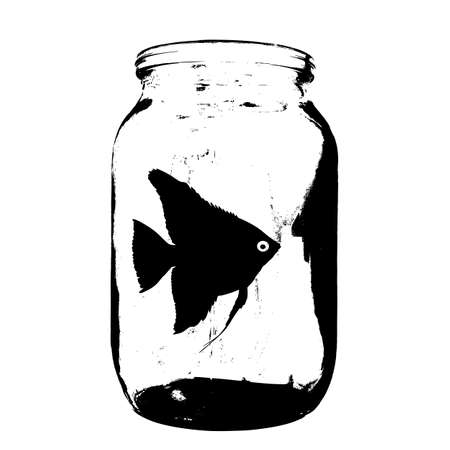 Black silhouette of aquarium fish in a jar with water on white background.