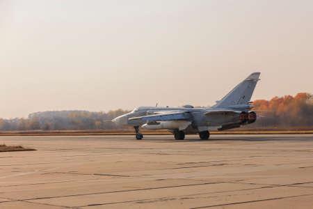 afterburner: Military jet bomber Su-24 Fencer afterburner takeoff.