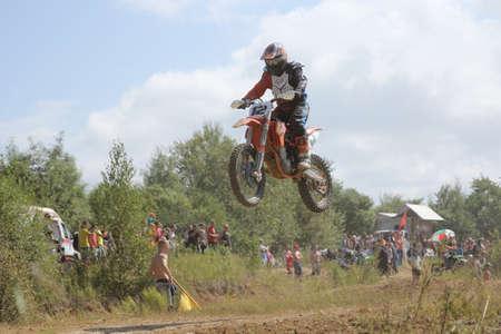 Arsenyev, RUSLAND - 30 augustus: De Ruiter neemt deel aan de ronde van de 2014 Rusland motocross kampioenschap op 30 augustus 2014 in Arsenyev, Rusland.
