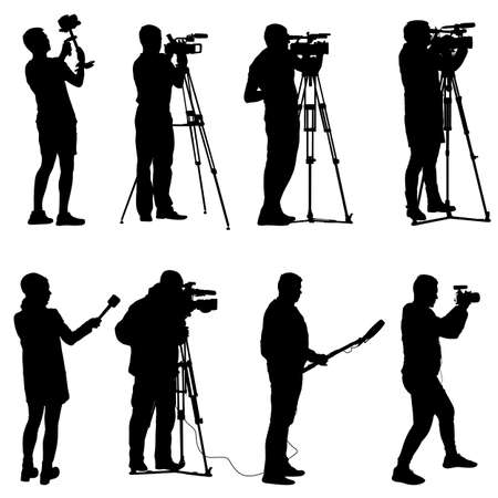videographer: Set cameraman with video camera. Silhouettes on white background. Illustration
