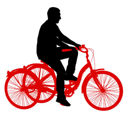 Silhouette of a tricycle male on white background. Illustration