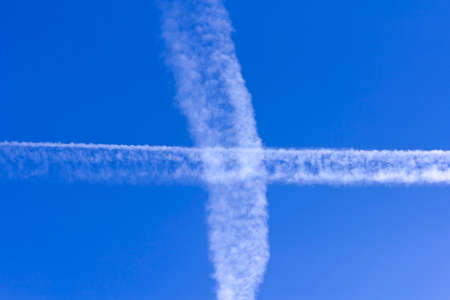 Trace of the plane in the sky. Stock Photo